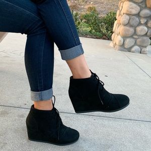 Black faux suede lace up wedge ankle boot